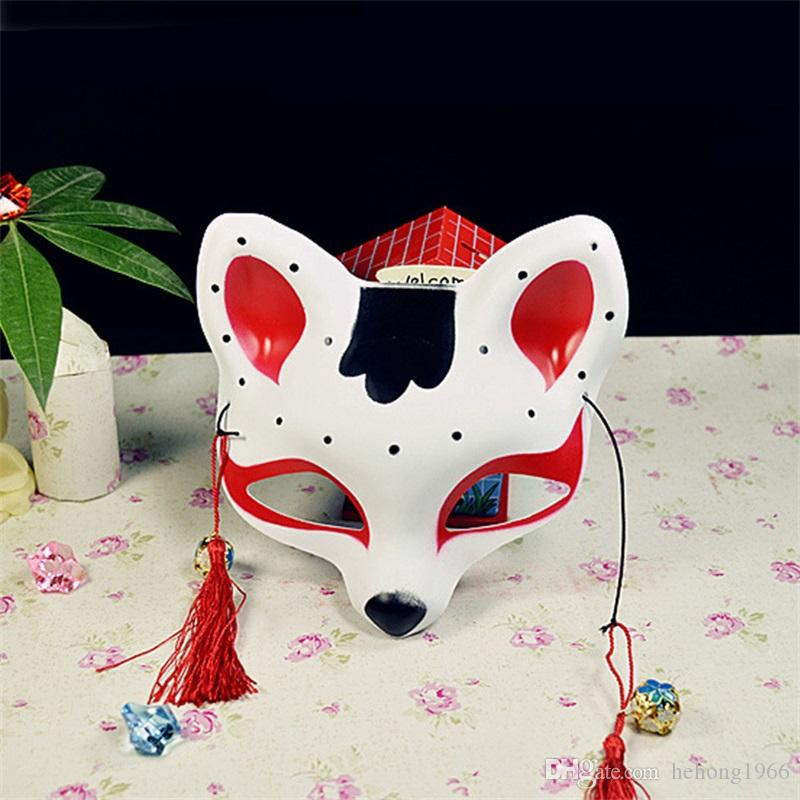 Japanese Style Half Face Mask Fox Cat Design With Tassels Eco Friendly Pvc Masks For Party Masquerade Dress Up Props 4 8yd Z