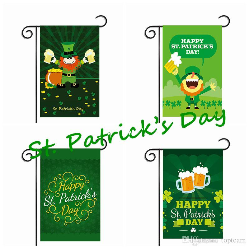 2018 St PatrickS Day Garden Flag Green Hat Shamrock Beer Gold Coin Hanging Polyester National Flags Easy To Carry Activity Banner From Topteam