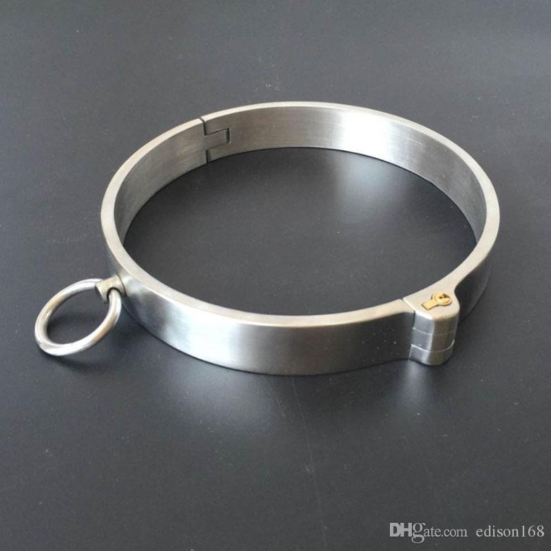 Exquisito Collar de Postura de Cuello de Anillo de Acero Inoxidable Necklet Con Bloqueo Restricción Bondage Adultos Productos Bdsm Juguetes Sexuales Para Hombre Mujer