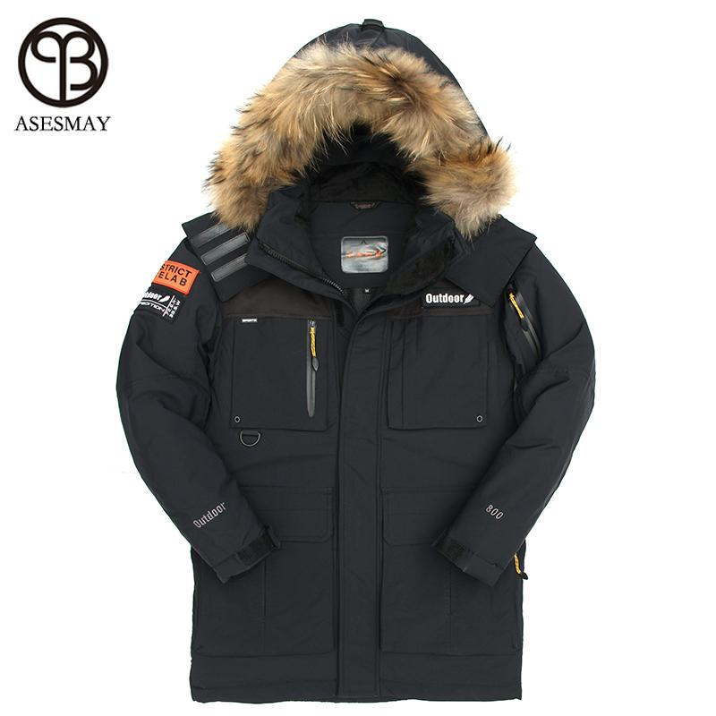 c117deb2a26 2019 Asesmay Brand Men Down Jackets Fur Collar Thick Warm Windproof Russia  Winter Parka Men White Duck Down Coat Male Casual Overcoat L18101102 From  Tai01, ...