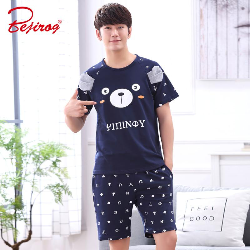 Cotton 100% Pajamas Sleeping Suits For Men 2019 New Summer Shorts Sleepwear Men Fashion Balck Pajamas Real Man Printing Pyjamas Underwear & Sleepwears
