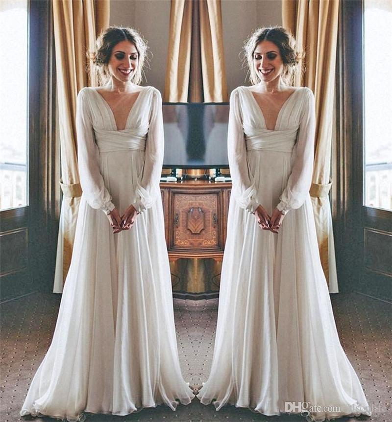 dbb6d04ee54 Discount Modest Hippie Boho Beach Wedding Dresses 2018 Long Sleeves V Neck Plus  Size Chiffon Cheap Summer Maternity Country Greek Style Bridal Gowns Top Of  ...
