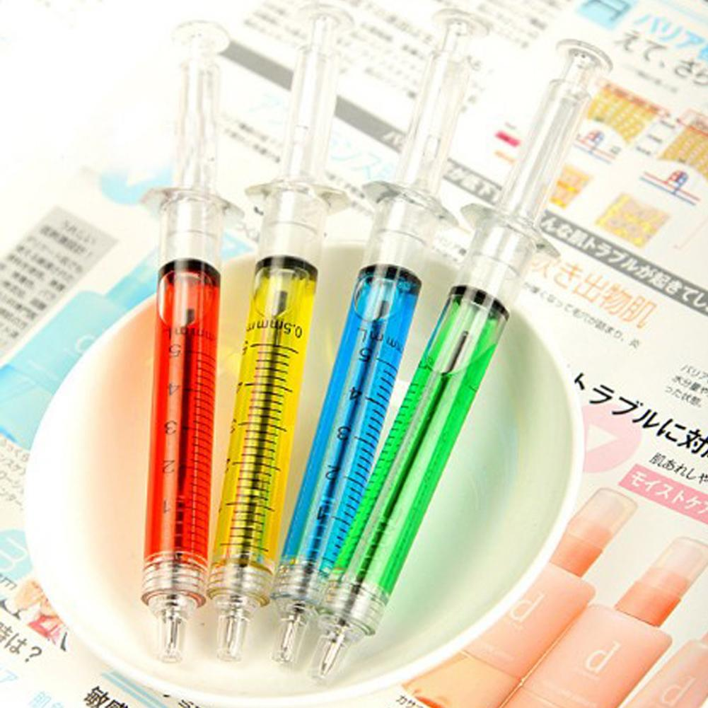 Novelty Needle Tube Writing Ball Point Syringe Flowing Liquid Ballpoint Pen Cute Stationery Office Supplies
