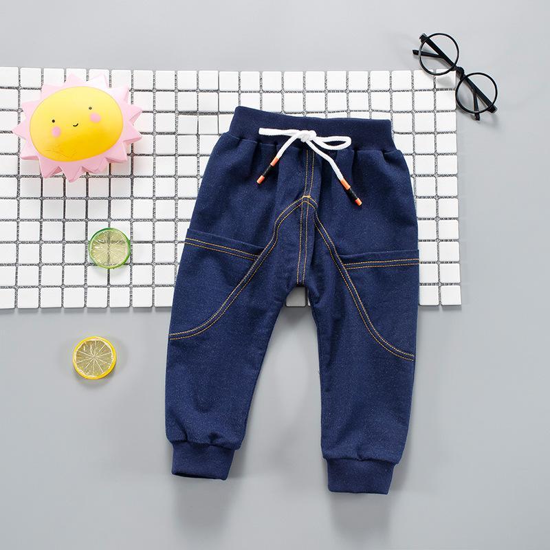 873bc9345 Compre Pantalones Para Niños Bebé Niño Niño Pantalones Vaqueros De  Mezclilla Cinturón De Corbata Pantalón Largo De Mezclilla Azul Pantalones  Largos Para ...