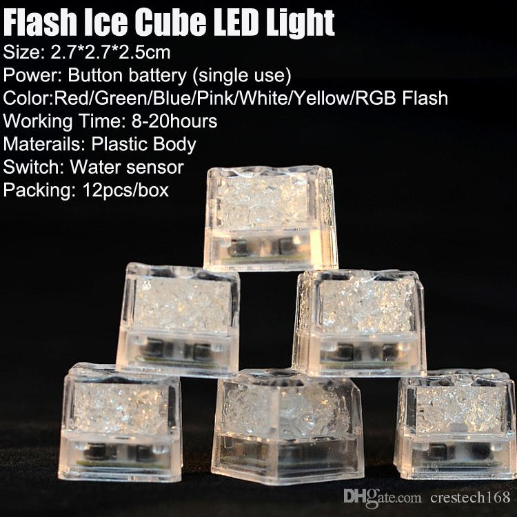 RGB flash led cube lights Ice Cubes lamps Flash Liquid Sensor Water Submersible LED Bar Light Up for Club Wedding Party Champagne Tower