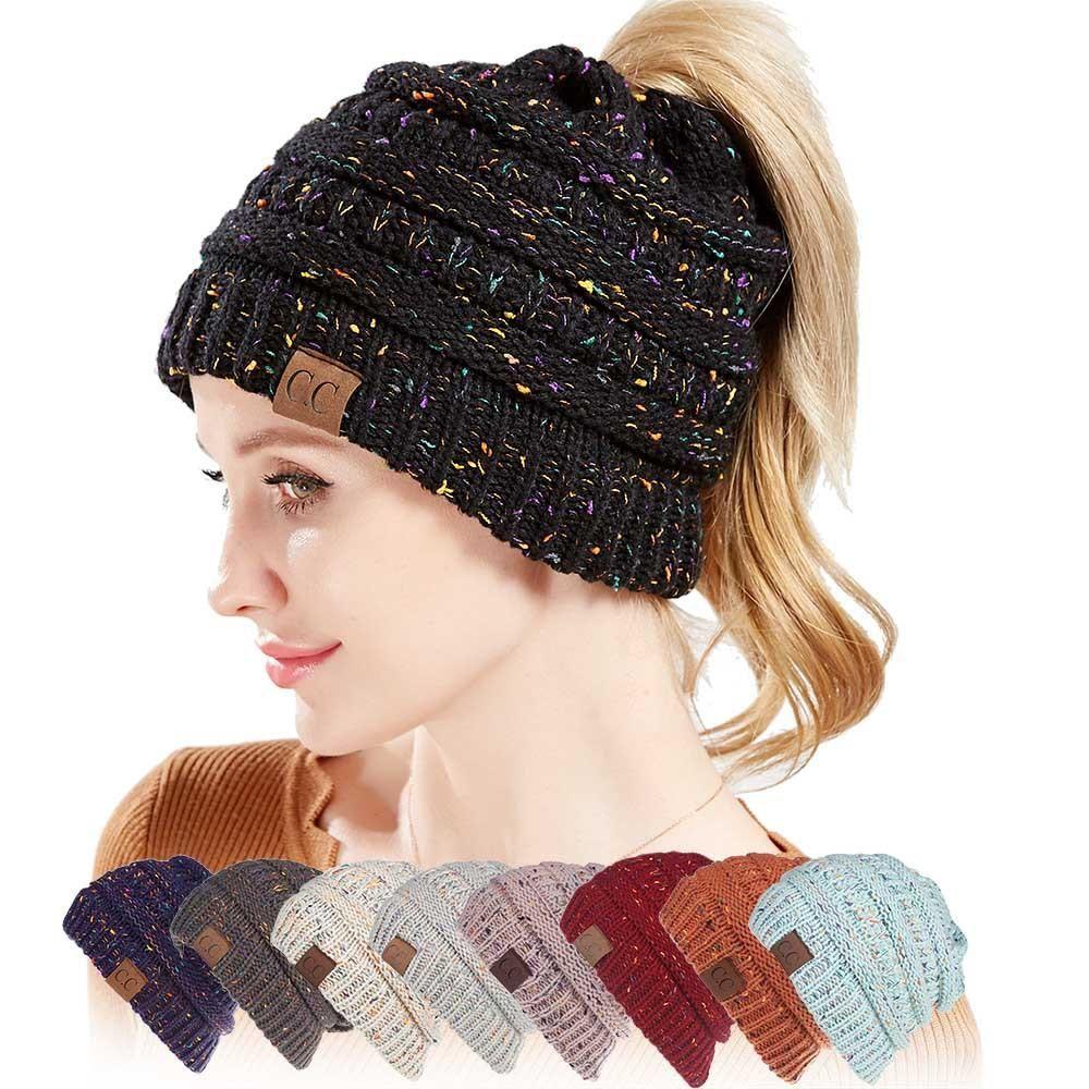 Ponytail Beanie Hats For big kids Winter Cap Knitted Skullies Beanies Warm  Caps Female Knit Messy Bun Hats Soft 766ec880505