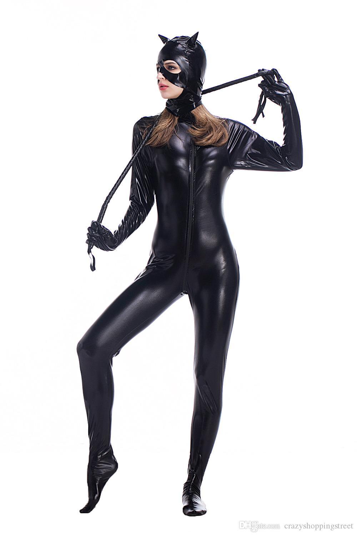 Catwoman preto PU de couro aberto virilha Bodysuit Sexy látex Catsuit Lingerie de corpo inteiro macacão com máscara Plus Size M L XL XXL