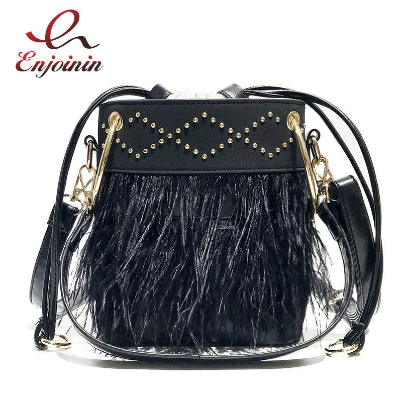 4e7dfb85401 Fashion Feather Stud Bucket Design Ring Handle Women Tote Shoulder Bag  Casual Totes Crossbody Bag Designer Bolsa For Women