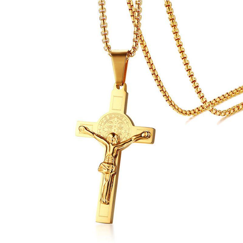 Wholesale mens crucifix cross necklace pendant 24 chain 18k gold wholesale mens crucifix cross necklace pendant 24 chain 18k gold plated titanium stainless steel catholic church religious male jesus piece jewelry aloadofball Image collections