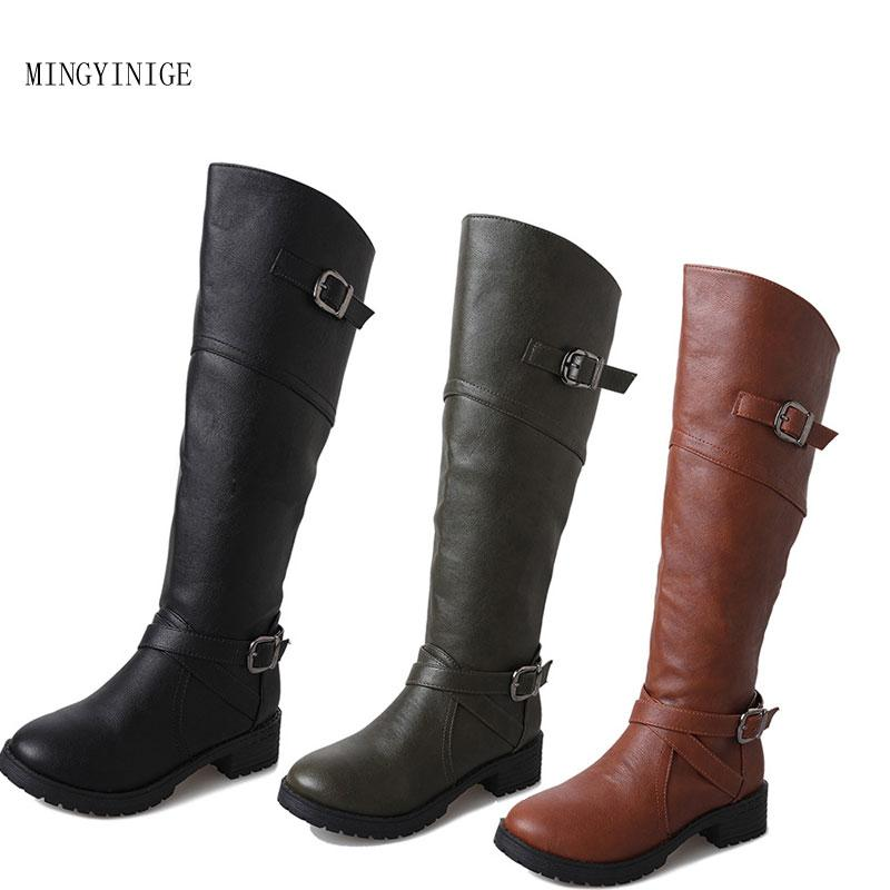 Flache Frauen Spitz Kniehohe Casual Damen Ferse Winter Schuhe Lange Ledernaht Größe Einfarbig Stiefel Plus WD9EHY2eI