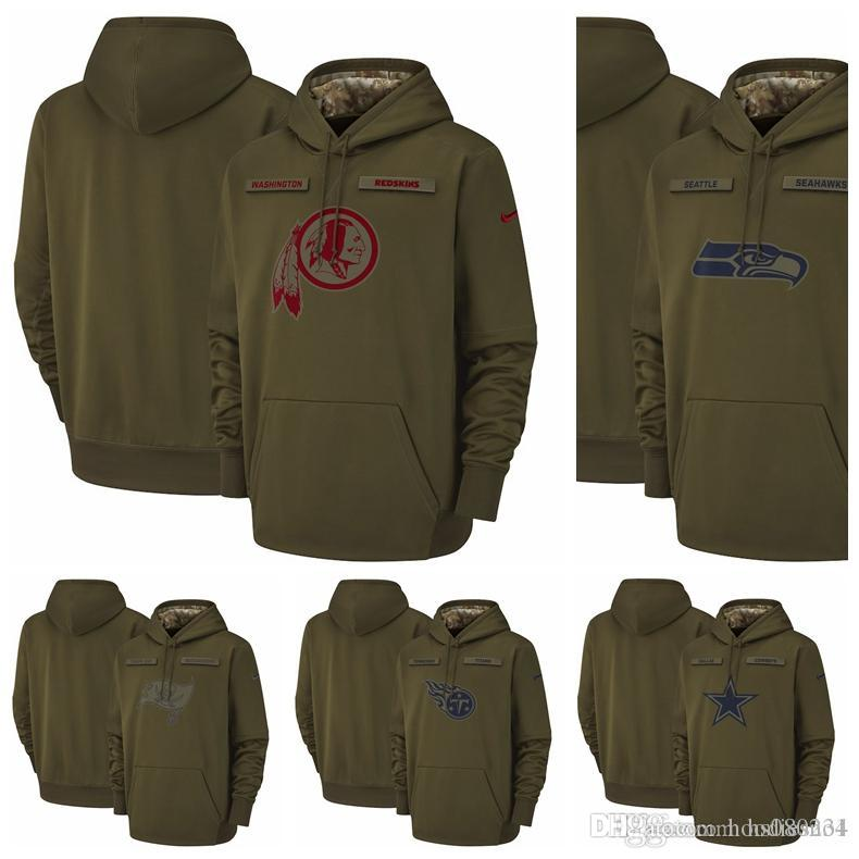 2019 Seattle Seahawks Tampa Bay Buccaneers Titans Washington Redskins  Dallas Cowboys Salute Service Sideline Therma Performance Pullover Hoodie  From ... 3aa31109a