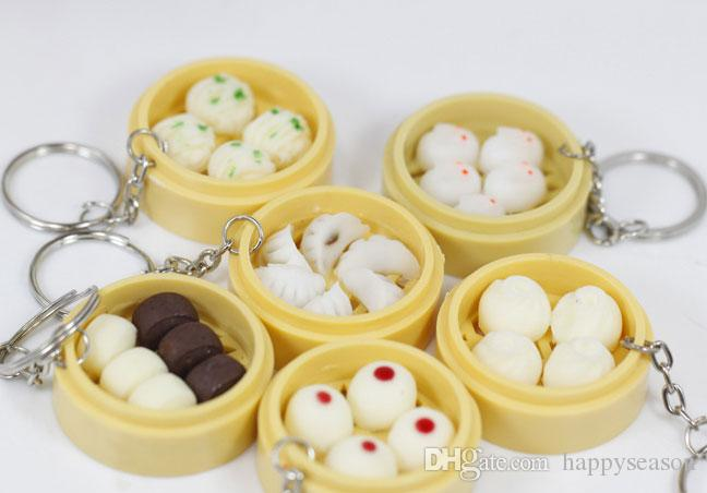 Simulation Chinese Porcelain Food Keychain Steamed Buns Steamed Dumplings Decoration Phone Straps Handbag Pendant Kids Toy