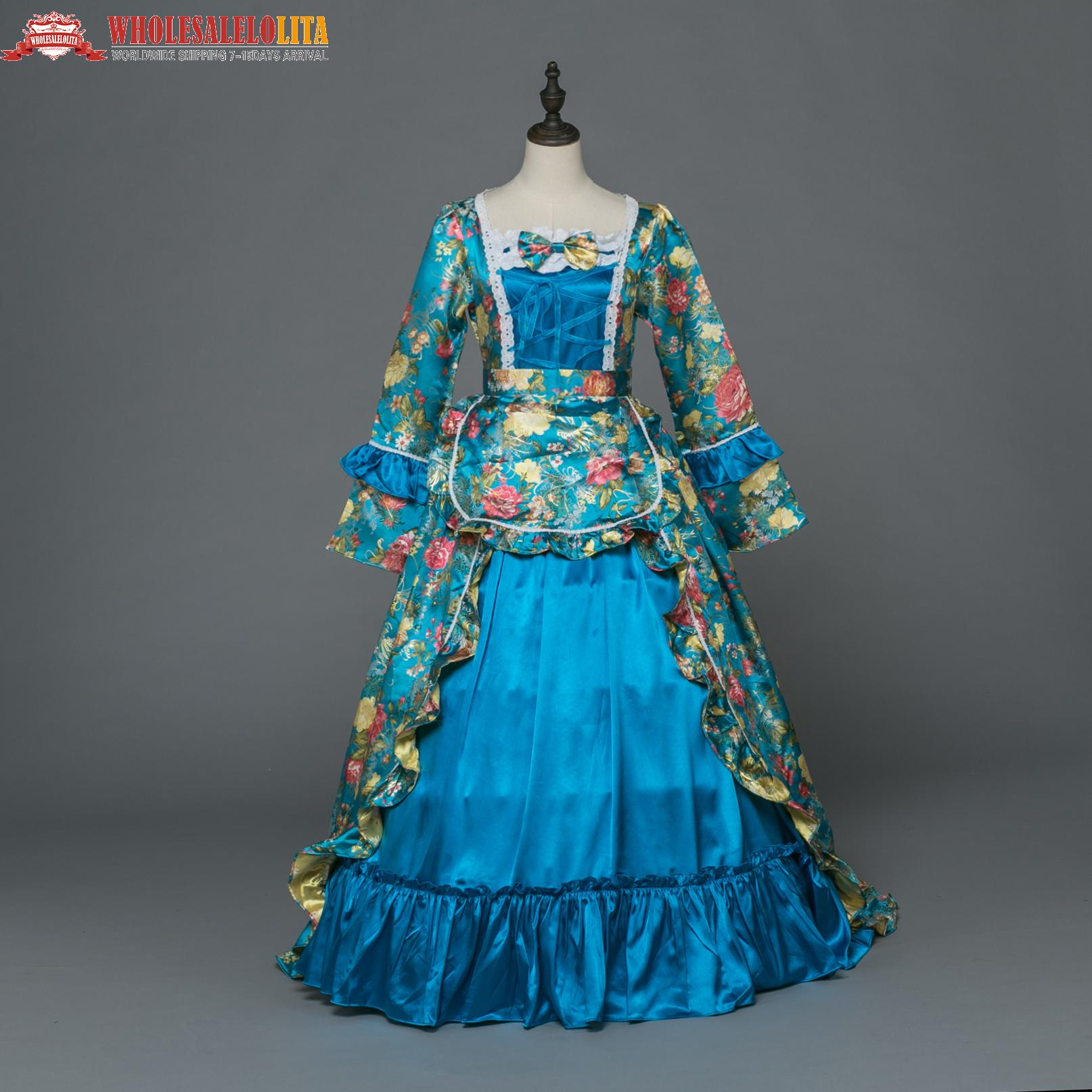 Hot Sale Blue Printing Victorian Southern Belle Dress Rococo Victorian  Halloween Prom Gown Dress