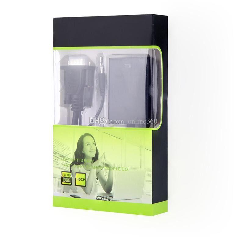 Yeni VGA Erkek hdmi Kadın Dönüştürücü Adaptör Kablosu Ses Çıkışı Ile 1080 P VGA HDMI Adaptörü PC Laptop Için HDTV Projektör