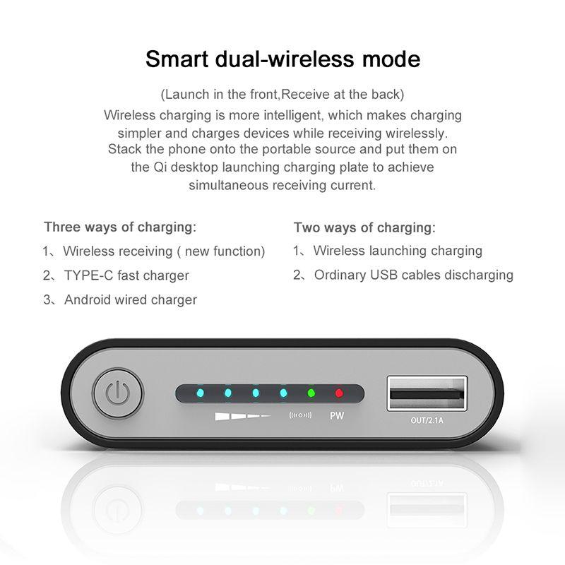 Caricabatterie wireless Power Bank all'ingrosso Caricabatterie wireless portatile Wireless Mobile10000Mah Mirco e Type-C USB MI SAMSUNG HUAWEI