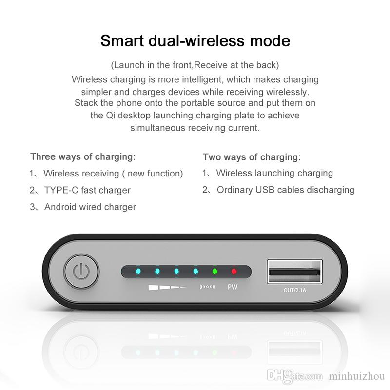 Wholesale Power Bank Wireless Ladegerät Portable Wireless Mobile10000Mah Power Wireless Ladegerät Mirco und Typ-C USB für MI SAMSUNG HUAWEI