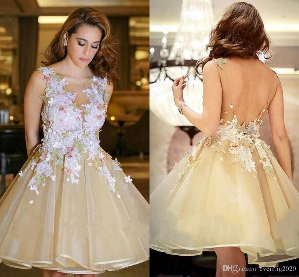 Puffy 2018 Homecoming Dresses 3d Lace Floral Yellow Short Party