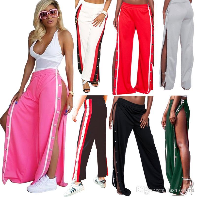 5f48034f48 Compre Moda Pantalones De Remache Casual Contraste De Color Sexy Aberturas  Altas Pantalones De Pierna Ancha Pantalon Mujer Culotte Pantalones Para  Mujer ...