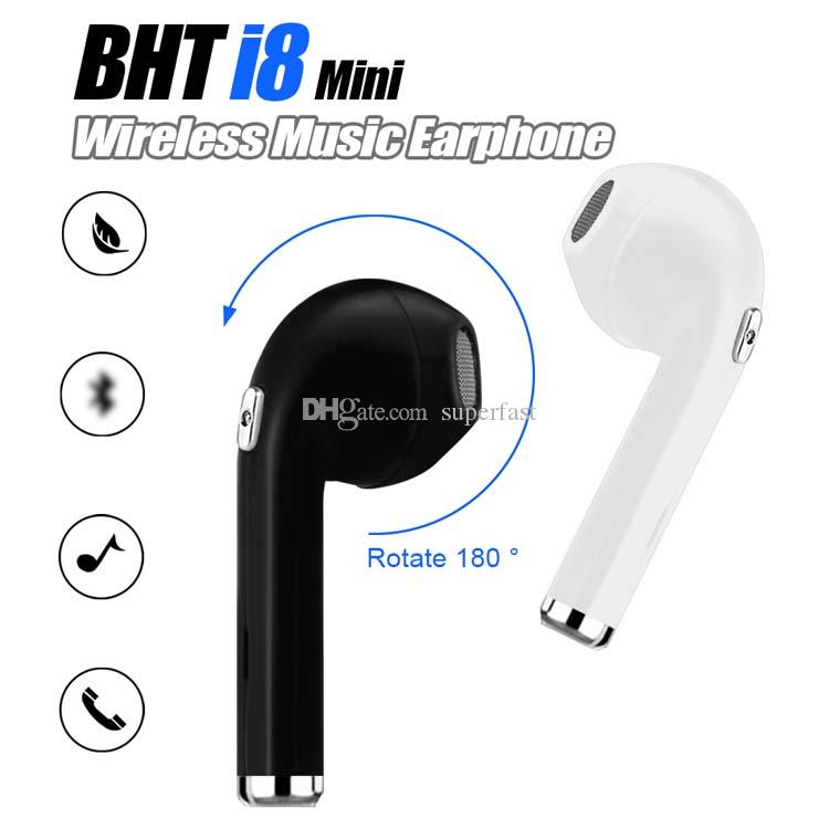 d3744085833 Wireless Bluetooth Earphones BHT i8 Mini In-Ear Music Earburd 180 Degree  Rotation Hands Free Calling Headset For smartphones with Package