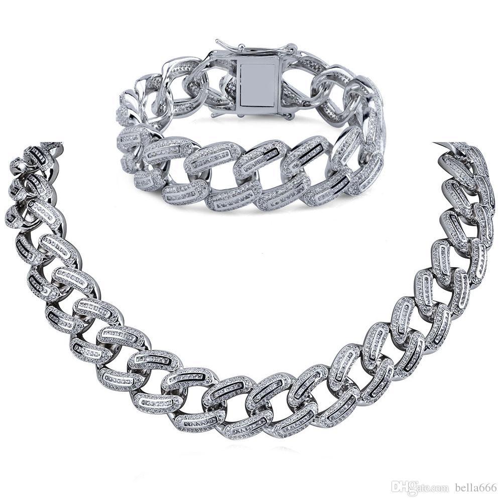 Men's Large Miami Cuban Chain Necklace Bracelet Set 18K Gold Plated Cubic Zirconia Hip Hop 18mm Width Jewelry for Male