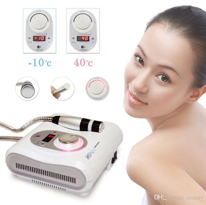 2 en 1 Cryo sans aiguille Electroporation Meso Mésothérapie Peau Cool Hot Facial Anti-âge Soins de La Peau Beauté Machine