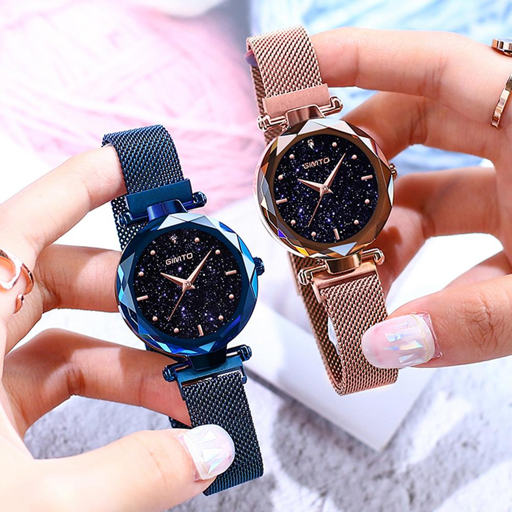 69e1d98b162 Compre Imán Hebilla Mujeres De Lujo Relojes Cristal Rosa Oro Cuarzo Reloj  De Damas Vestido De Acero Inoxidable Reloj Femenino Relogio Feminino  C18111301 A ...