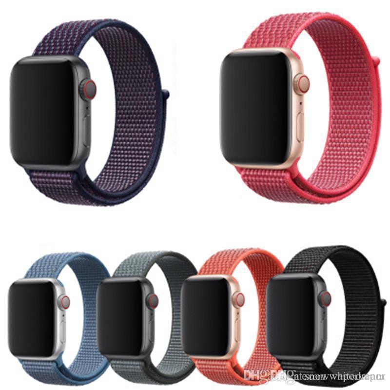 4eae40e2d14 Nylon Sport Loop Strap For Apple Watch Band 42mm 38mm 44mm 40mm IWatch  4 3 2 1 Bracelet Wrist Watchband Accessories Watch Leather Strap Leather  Strap Watch ...