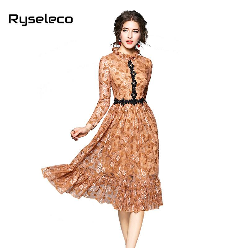 8105aff690 Women 2018 Autumn New Chic Quality Floral Lace Dress Girls Fashion ...
