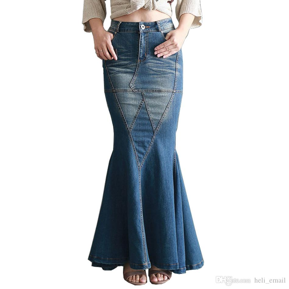 2019 2017 New Fashion Retro Slim Vintage Sexy Fishtail Fish Tail Ladies  Long Denim Skirts   Design Jeans Long Skirt For Womens From Heli email 96bd56f47d7b