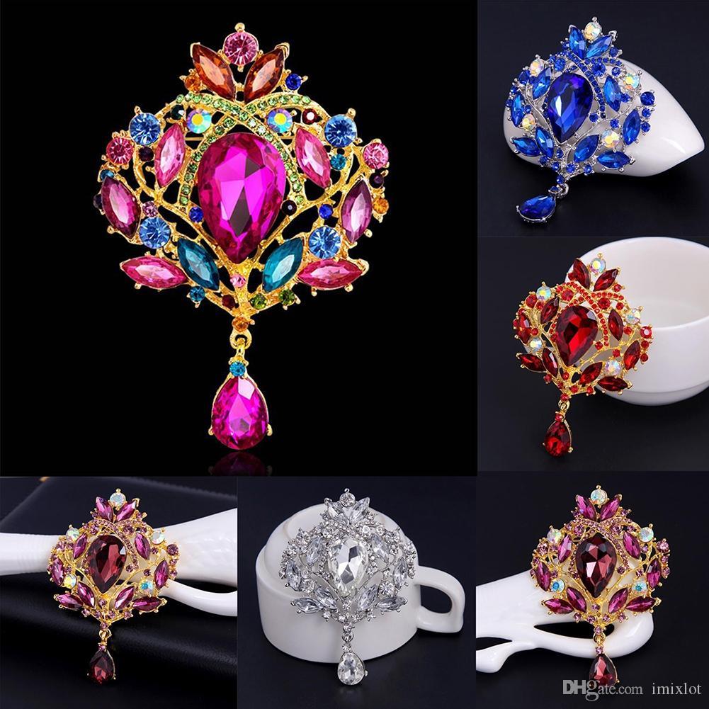 2018 Gorgeous Flower Floral Tear Large Drop Brooch Pin Crystal Glass Teardrop Pendant For Women Wedding Jewelry