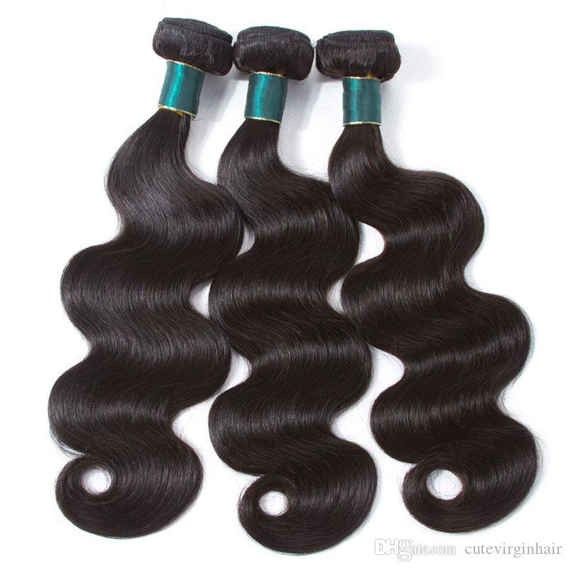 Gerçek Remy İnsan Saç 3/4 Paketler Düz Vücut Dalga Işlenmemiş Brezilyalı Bakire Saç Örgü Atkı Saç Uzatma Sınıf 10A Doğal Renk