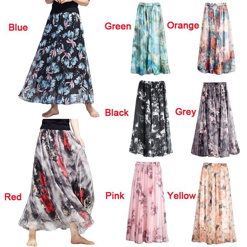 260bc2e8aa 2019 2017 Fall Fashion Boho Skirt Women Maxi Chiffon Floral Skirt ...