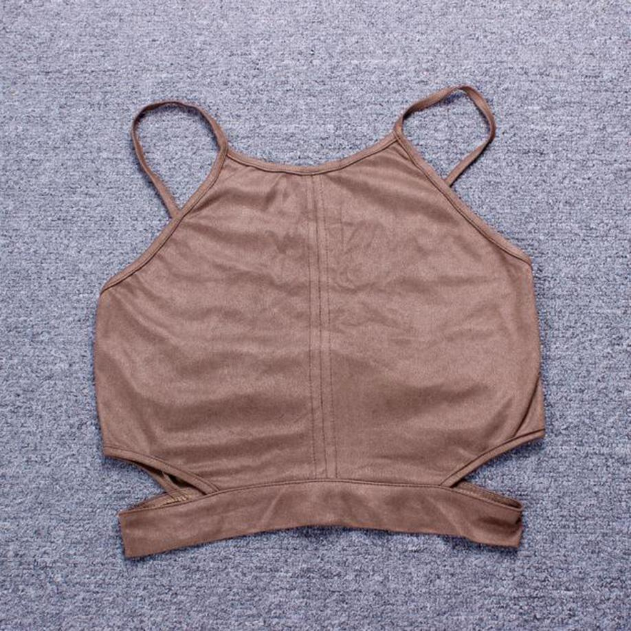 Summer Vintage Brown Cropped Tank Top Sexy Lace Up Camis Femmes Tops Slim Cami Crop Top Gilet Femmes Bralette Bikini Blouse Soutien-Gorge