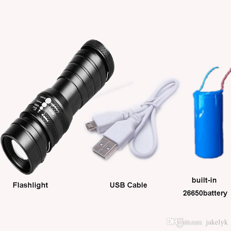 High power USB cable Charger T6 LED Zoomable LED Hunting Flashlight Torch With 26650 Battery Light Lamp Lighting For Outdoor Travel