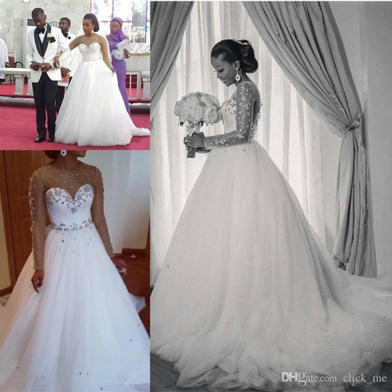 Discount African Sheer Neckline Wedding Dresses With Beads Sequins ...