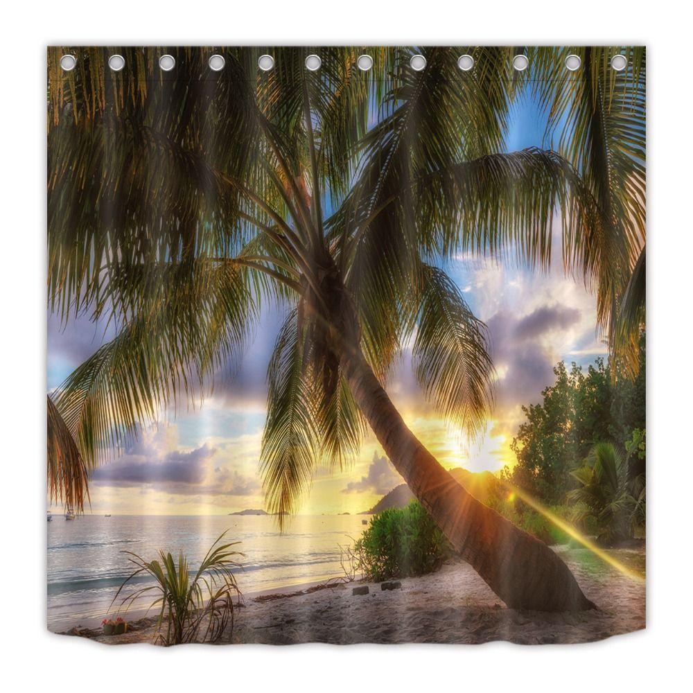 2018 Ocean Palm Tree Tropical Island Beach Sunset Shower Curtain ...