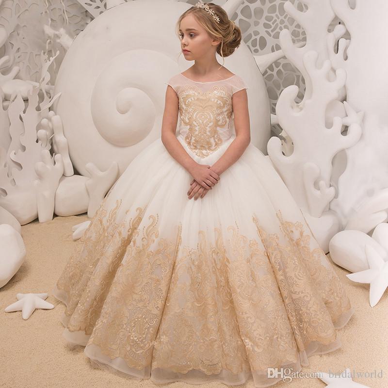b26fe21f241 Ball Gown Flower Girl Dresses Ivory Champagne Embroidery Cap Sleeves Floor  Length Little Girls Pageant Dresses Girls Christmas Dresses Vesti Cheap  Flower ...