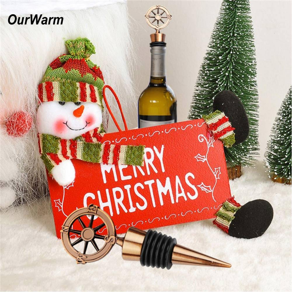 OurWarm Christmas Party Favors Wine Bottle Stopper Metal Alloy Wine Collection 2018 Happy New Year Decoration Gifts for Home
