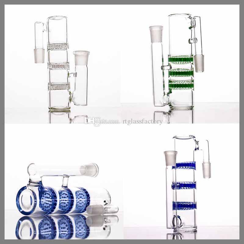 Nuevo estilo Ash Catcher para bongs de vidrio 14 mm 18 mm Triple HC Three Honeycombs Glass Ashcatcher Bubbler Diferente Cosa Ash Catcher