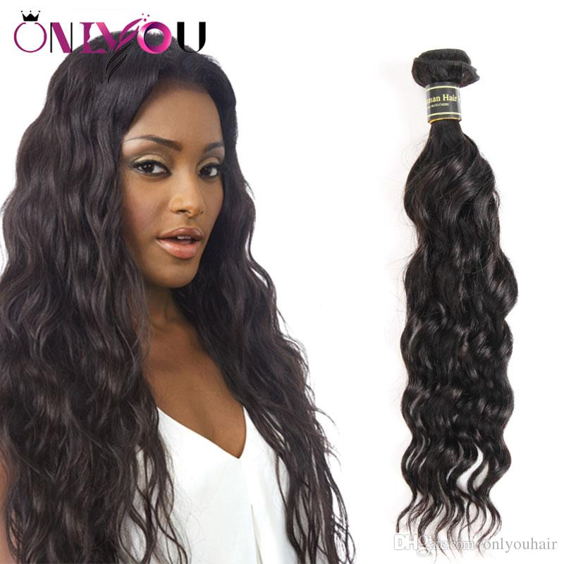 Hot Malaysian Remy Hair Weaves Pure Black Water Wave Human Hair