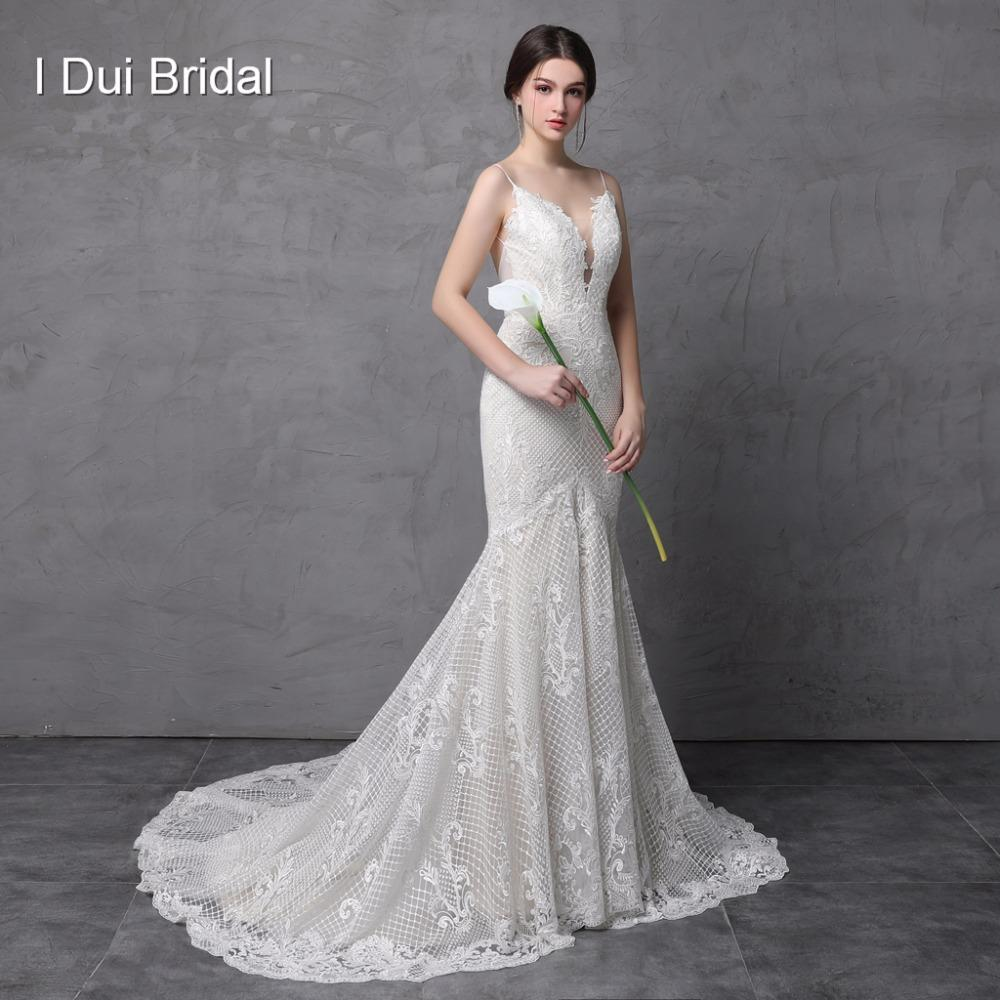 Spaghetti Strap Mermaid Wedding Dresses Luxury Lace High Quality Low  Cleavage Sexy Low Back Bridal Gown Bridal Party Dresses Champagne Wedding  Dress From ... d9f30a06f