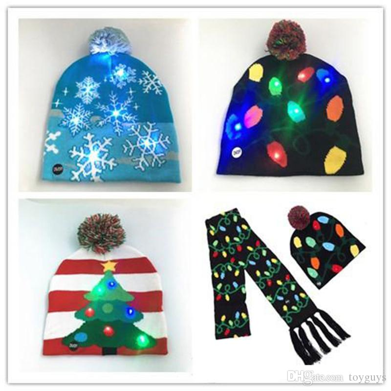 2018 LED Christmas Knitted Hat Scarf Kid Adults Santa Claus Snowman ...