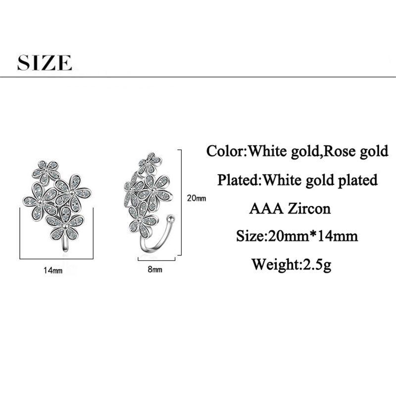JYouHF New Design Beautiful Flower Ear Cuff Earrings Women Cubic Zirconia White/Rose Gold Color No Pierced Ear Cuff Clip Earring