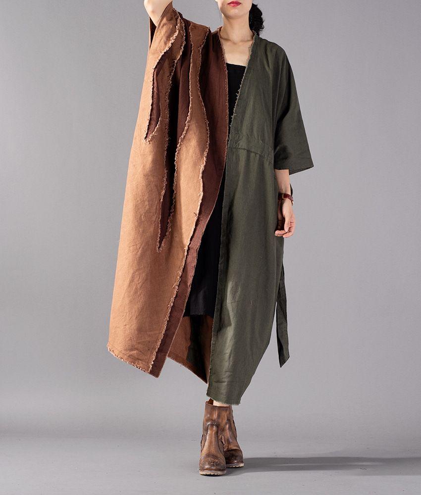 on sale 4ae75 8027f Frauen Herbst Baumwolle Leinen Patchwork Plus Size Trenchcoat Outwear  weibliche lose zerrissenen Mantel Damen Big Size Coat 2018