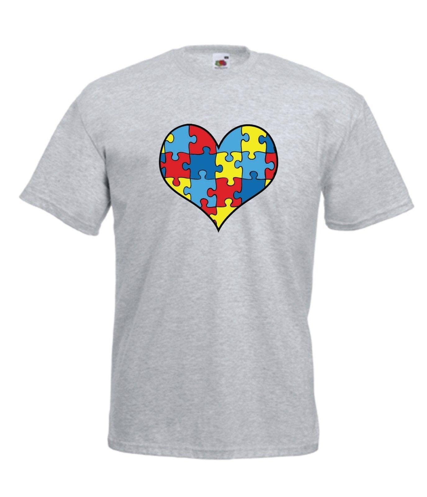 Top Ten Weihnachtsessen.Autismus Herz Autistisch Bewusstsein Top Weihnachten Geburtstag Herren Damen Men T Shirt Men Clothing Plus Size T Shirt
