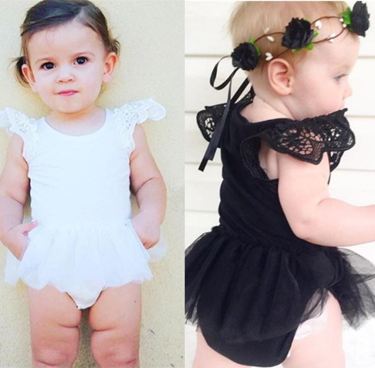 Summer baby girl rompers princess black white lace romper newborn baby clothes jumpsuit lovely comfortable romper