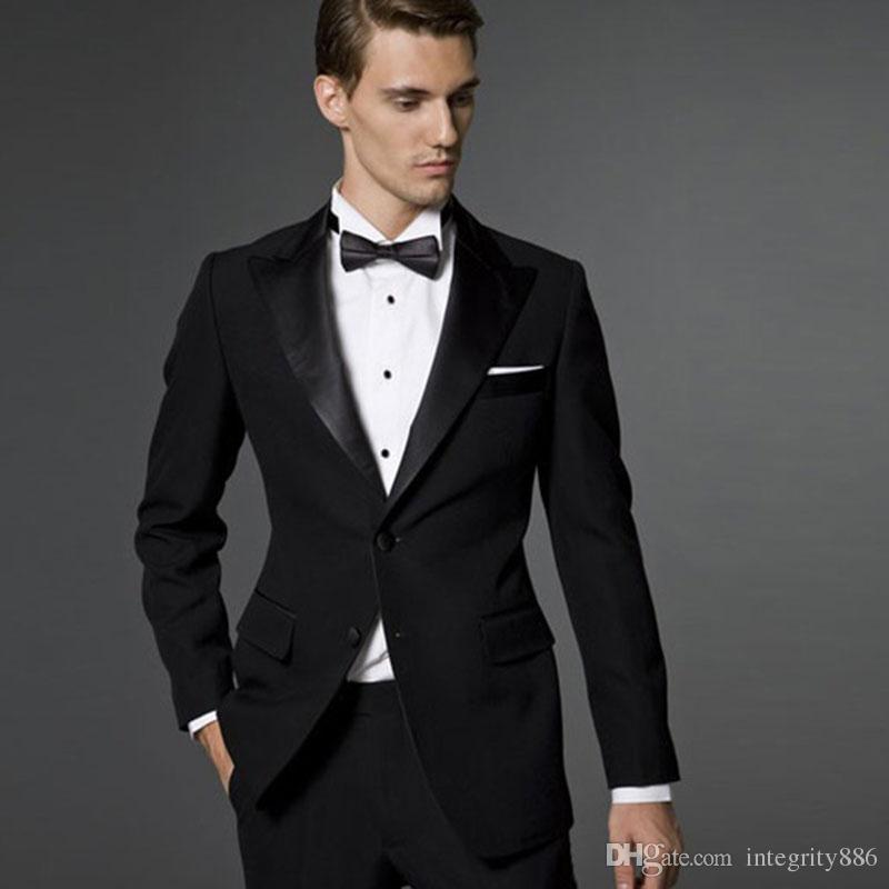 d00af3ebf Cheap New Brand Black Groom Tuxedos Excellent Groomsmen Blazer Men ...