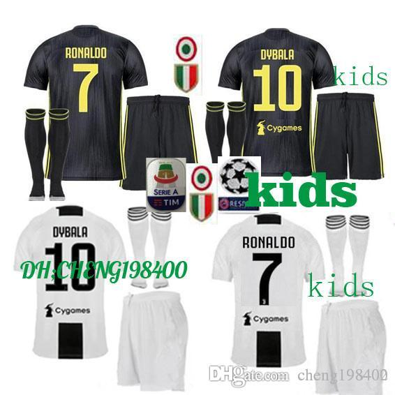 79bdd104a 2018 2019 Juventus Soccer Jersey RONALDO DYBALA HIGUAIN Kids Kit 18 ...