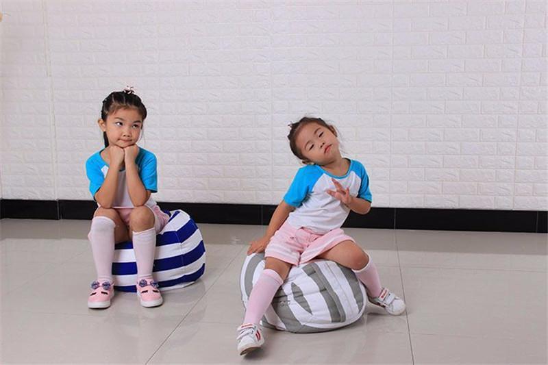 43 Farben Speicher Bean Bas Taschen Kinder Stofftier Sitzsack gestreiften Druck Plüschtiere Organizer Aufbewahrungsboxen für junge Mädchen faul sac Sofa
