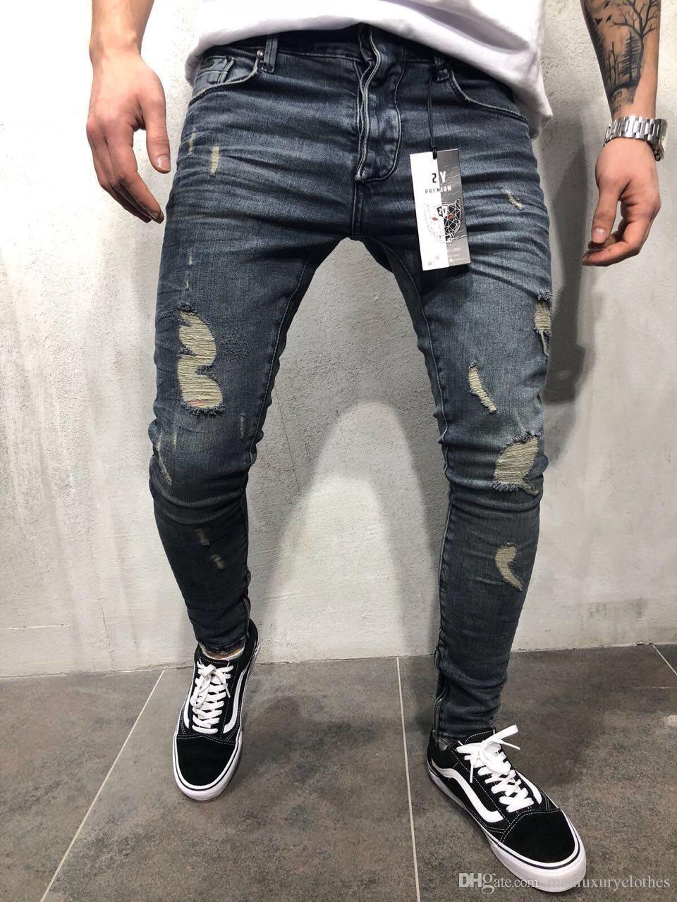 3c87b1222c8eb Compre High Street Slim Fit Ripped Jeans Para Hombres Ropa Pantalones Lápiz Pantalones  Jean Zipper Designer 2018 A  48.44 Del Menluxuryclothes